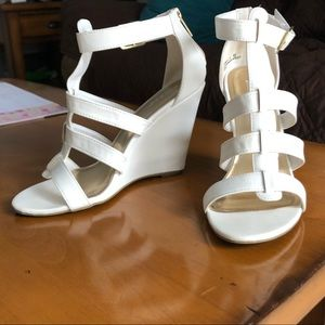 White, strappy wedges